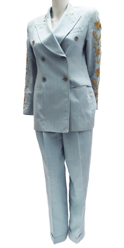 Vintage Dolce & Gabbana Double Breasted Linen Trouser Suit with Gold Embroidery, c.1993 UK10-12