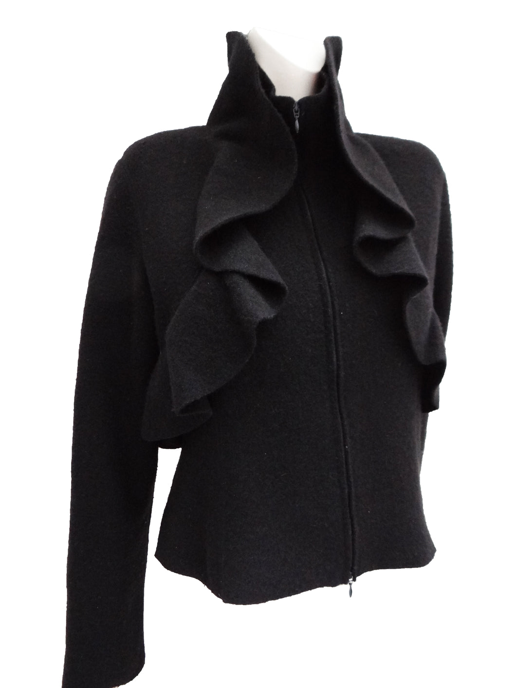 Valentino Jacket with Bolero Frill, in Black Wool, UK12-14