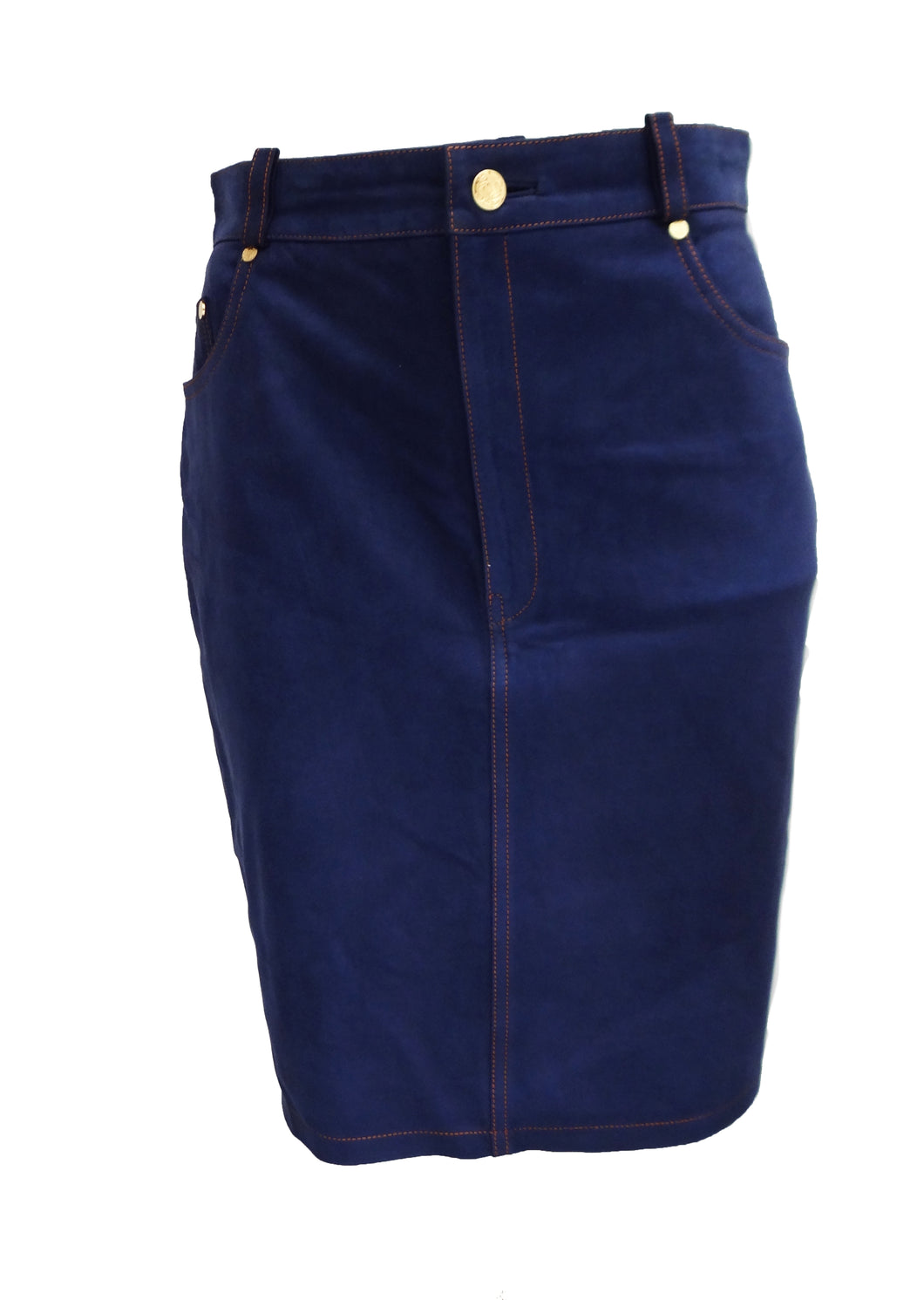 Loewe Nubuck Denim Look Skirt, UK10-12