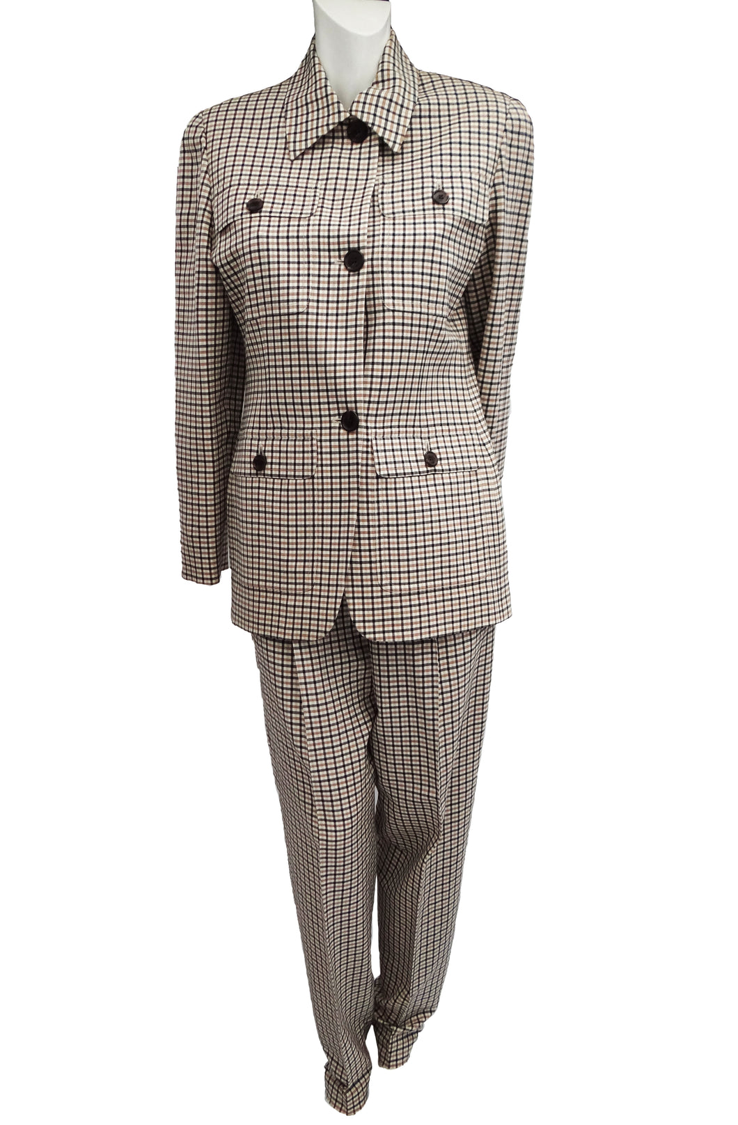 Michael Kors Gun Check Wool Trouser Suit, UK12-14