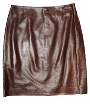 Ralph Lauren Brown Leather Pencil Skirt, UK12