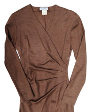 Max Mara Draped Wrap Dress in Soft Brown Wool, UK10