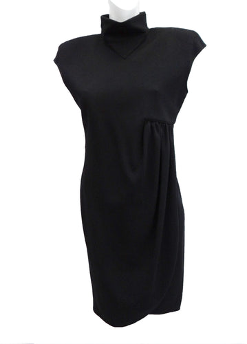 Valentino Asymmetric Wrap Dress in Black Wool Crepe, UK10-12