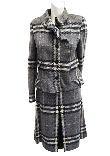 Burberry Tailored Skirt Suit in Grey Check Weave with Silver Thread, UK12