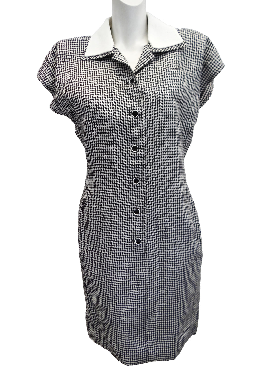 Ungaro Vintage Button-through Houndstooth Dress with Contrasting Collar, UK12