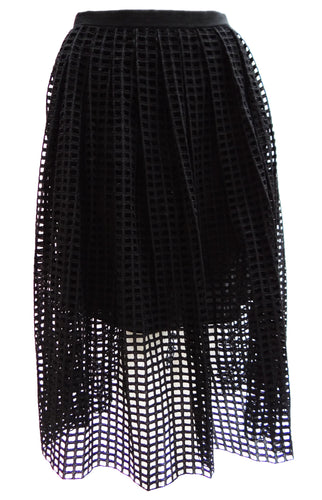 Carven Cutwork Black Mid-length Skirt, UK10