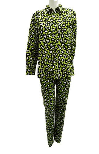 Bottega Veneta Leopard Print Trouser Suit in Lime Green, UK12