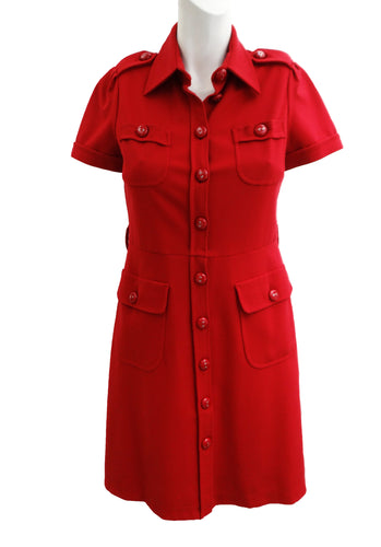 Moschino Shirt Dress in Tomato Red Jersey, UK8