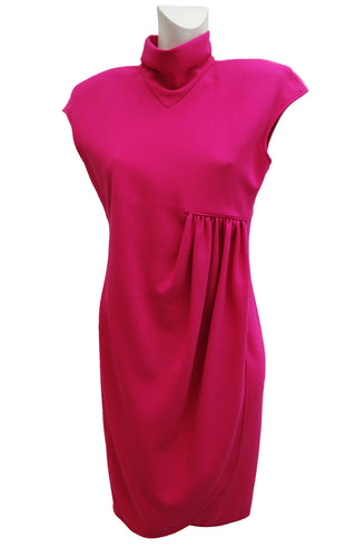 Valentino Asymmetric Wrap Dress in Pink Wool Crepe, UK10-12