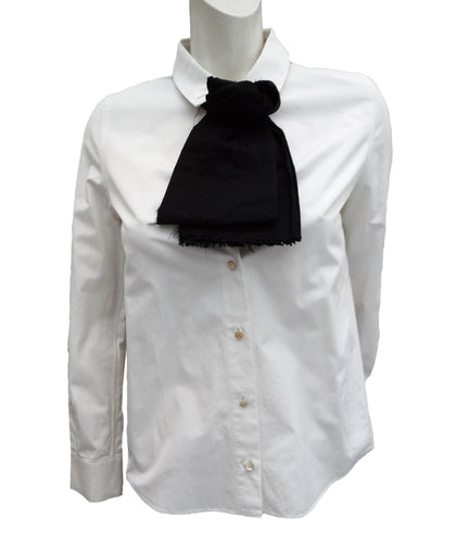 Charles Anastase 1979 White Shirt with Black Cravat Detail, UK8