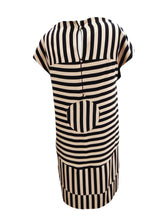 Fendi Geometric Shift Dress in Beige and Black Stripes, UK10