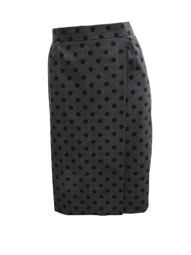 Moschino Polka Dot Wrap Skirt in Grey and Black, UK12