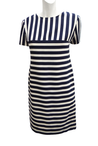 54942201b Courreges Vintage Shift Dress in Blue and White Stripes, UK10