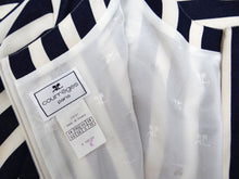 Courreges Vintage Shift Dress in Blue and White Stripes, UK10