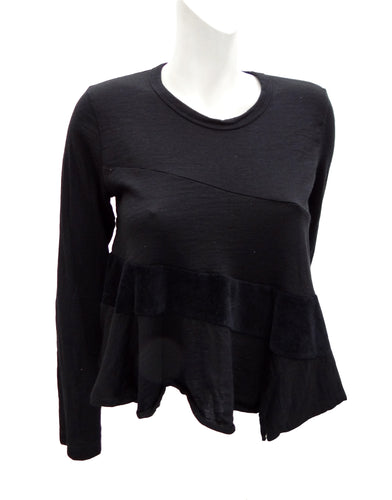 Comme des Garcons Black Wool Bias-cut Top, UK10