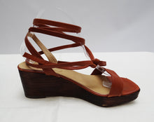 Charles Jourdan Tan Wedge Sandals with Ankle Laces, UK7
