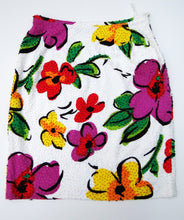 Adrienne Vittadini Vintage White Skirt with Flower Print and Sequins, UK10