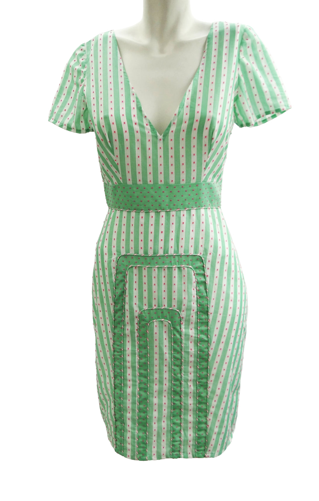 Mint Green Candy Stripe Summer Dress with Pink Embroidery, UK10