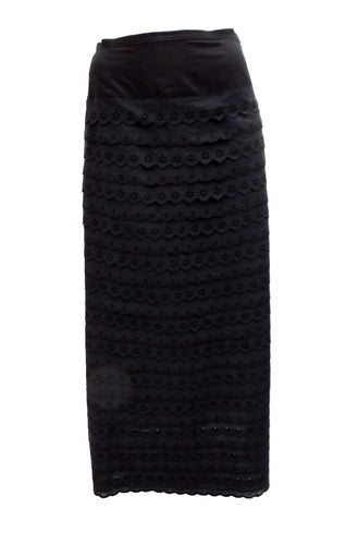 Max & Co Black Broderie Anglaise Tiered Maxi Skirt, UK10