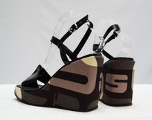 Sergio Rossi Camouflage Ankle Strap Wedges, UK5.5