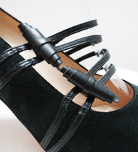Manolo Blahnik Dark Green Suede High Heeled Court Shoes UK 3.5