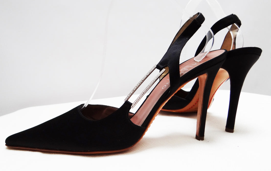 Valentino Stiletto Evening Shoes in Black Satin with Diamante Buckle, UK 6.5