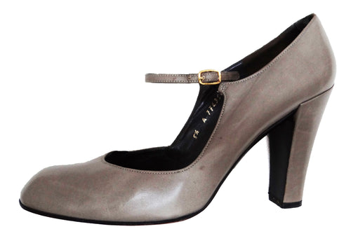 Christian Dior Vintage Dove Grey Mary Jane Heels, UK3.5-4