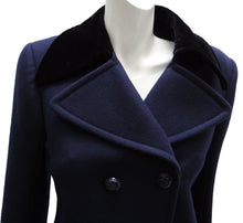 Alexander McQueen Smart Navy Pea Coat with Velvet Collar, UK8-10