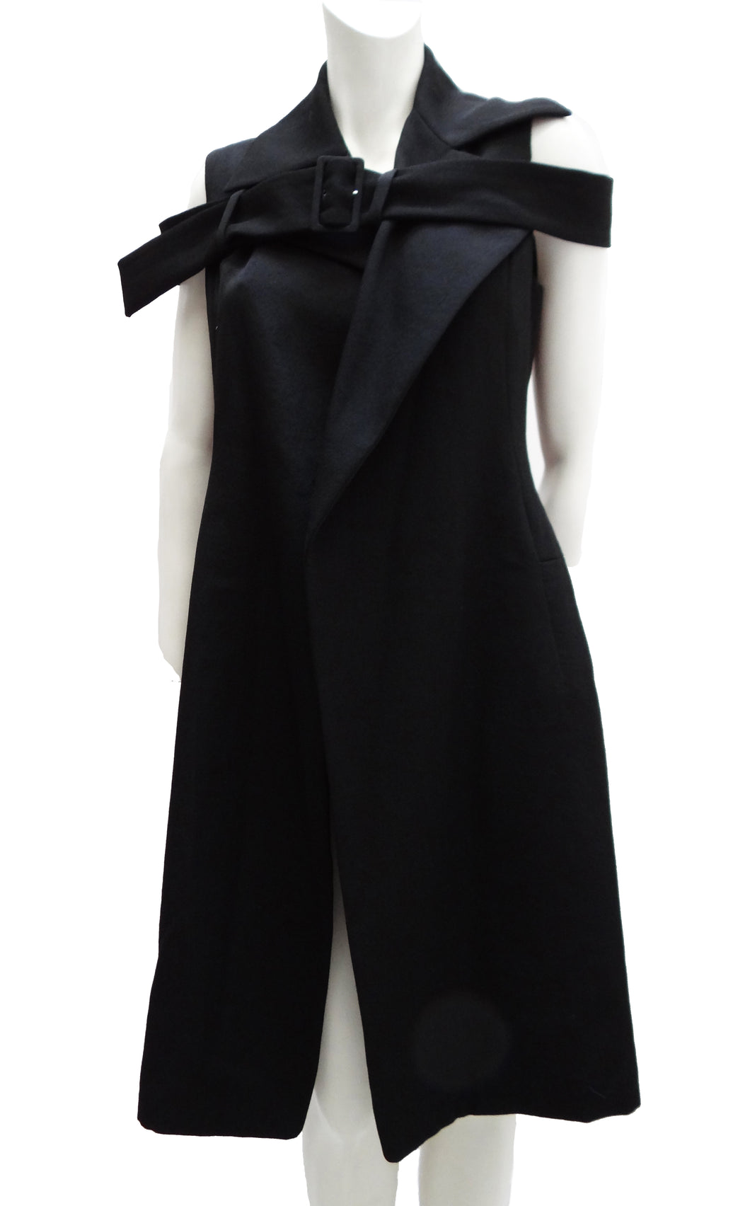 Yohji Yamamoto Tailored Sleeveless Coat with Shoulder Belt, UK10