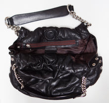 SSonia Rykiel Handbag in Quilted Black Leather with Chain Detail