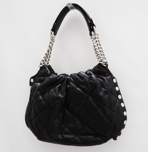Sonia Rykiel Handbag in Quilted Black Leather with Chain Detail