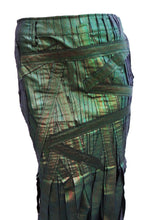 Issey Miyake Iridescent Metallic Green Ribbon Skirt, UK8-10