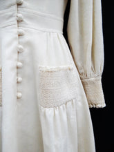 Vintage Ivory Wool Crepe Button-through Dress with Smocking, UK6-8