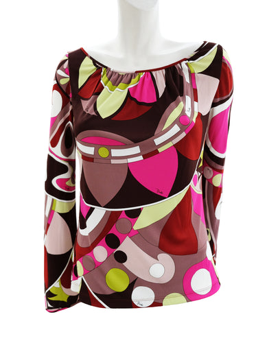 Emilio Pucci Geometric Signature Print Top, UK12