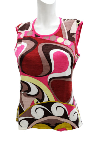 Emilio Pucci Geometric Signature Print Sleeveless Knit Top, UK12-14