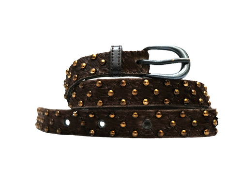 Yves Saint Laurent Rive Gauche Vintage Ponyskin Belt with Studs, S