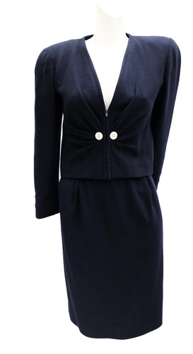 Valentino Vintage Navy Wool Crepe Skirt Suit, UK10