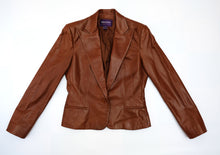 Ralph Lauren Skirt Suit in Soft Brown Leather, UK10-12