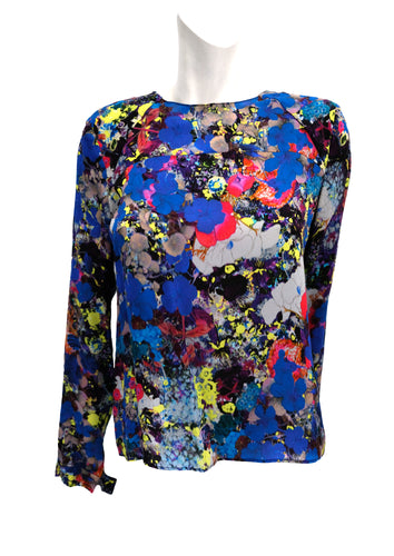 Erdem Round Neck Top in Multicoloured Printed Silk, UK10