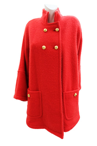Guy Laroche Vintage Felted Red Wool Swing Coat with Gold Buttons, UK10-16