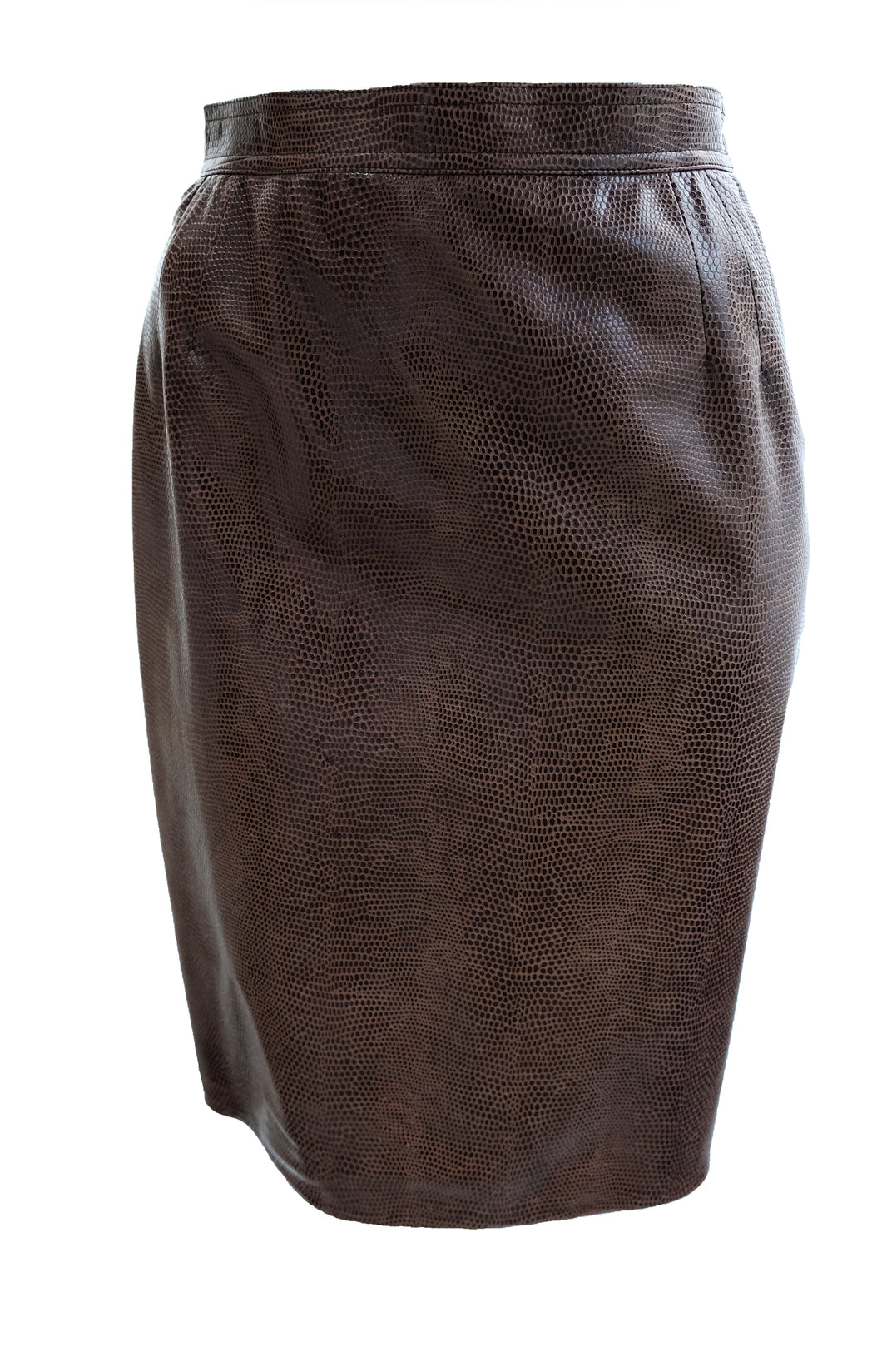 Ungaro Vintage Snakeskin Leather Pencil Skirt, UK10