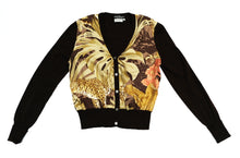 Salvatore Ferragamo Vintage Cardigan with Jungle Printed Silk Front, UK10