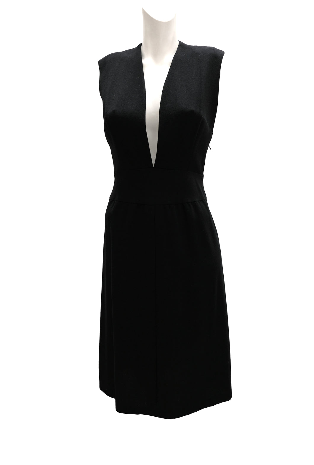 1990s Vintage Minimalist Dress in Black Crepe with Plunging Neck, UK10-12