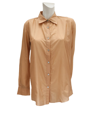 Celine Nude Silk Shirt, UK10-12