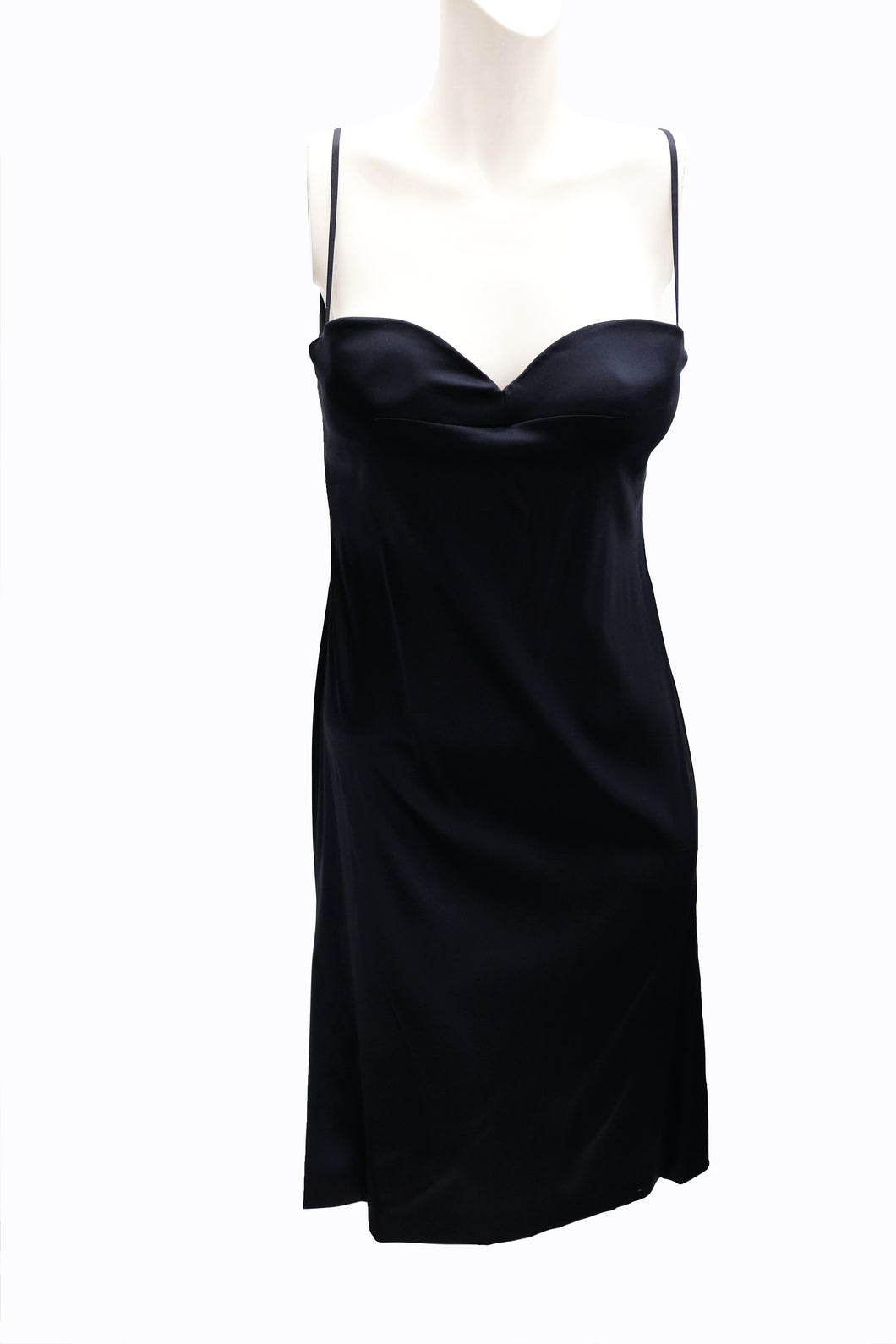 Alberta Ferretti Vintage Slip Dress in Midnight Blue Silk Satin, UK10