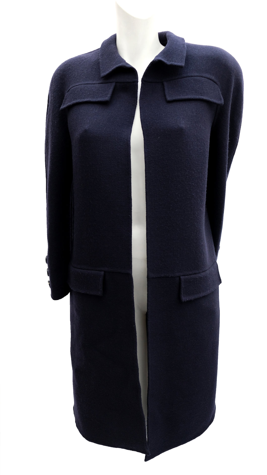 Valentino Boutique Minimalist Coat in Navy Crepe, UK10-12