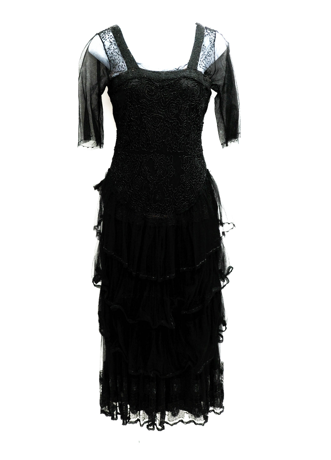 Antique Beaded Evening Dress in Black Tulle, XXS
