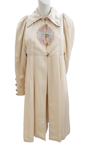Bill Gibb Vintage Satin Coat with Embroidery, UK10