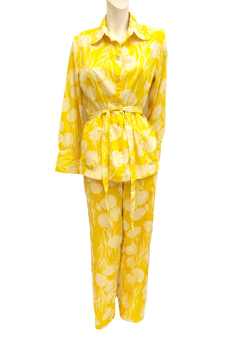 Lilly Pulitzer Bright Yellow Floral Pyjama Lounge Suit, UK12-14