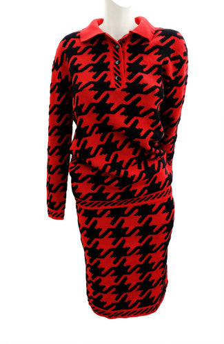 Charles Jourdan Vintage Red Houndstooth 2-piece Knitted Suit, UK10